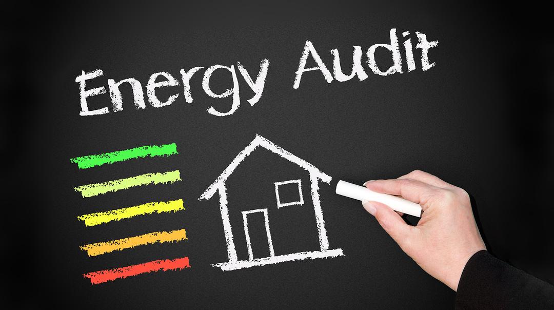 Energy Audit on chalkboard